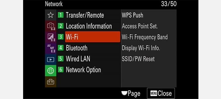 Kuva verkon asetuksista näyttövalikossa