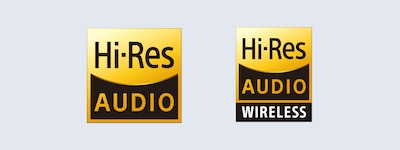 Hi-Res Audio- ja Hi-Res Audio wireless -logot
