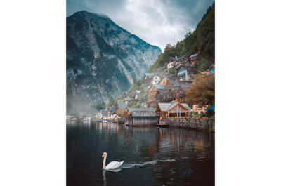 ilkin-karacan-sony-alpha-7RII-swan-glides-gracefully-across-lake-with-mountain-backdrop