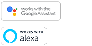 Google Assistant- ja Alexa Built-in -logot