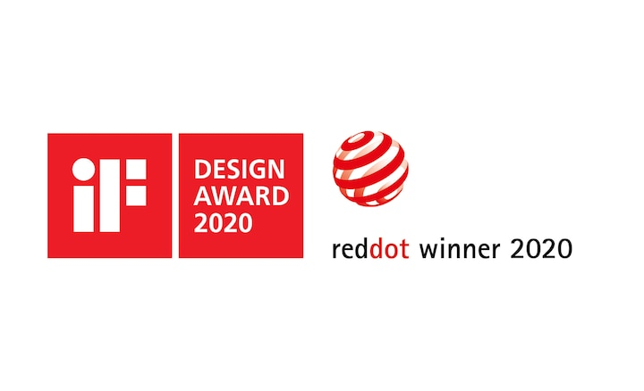 iF Design Award 2020- ja Red Dot Winner 2020 -logot
