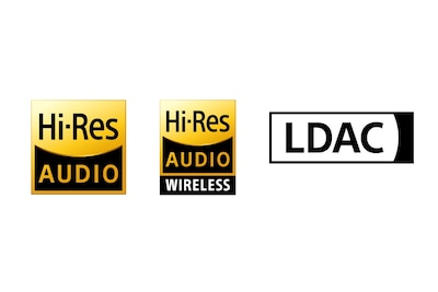 Hi-Res Audio-, Hi-Res Audio Wireless- ja LDAC-logot