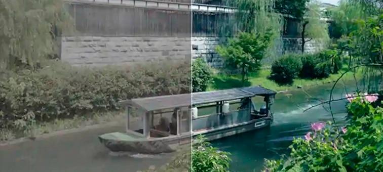 Kuva veneestä joella, kuvan vasen puoli ennen värinmääritystä
