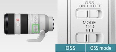 Tuotekuva OSS-kytkinten sijainnista objektiivissa